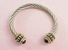 Vintage Grueso de oro y plata tono Trenzado Cuerda/Cable Torc Brazalete Pulsera Brazalete