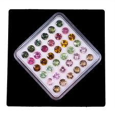 36 Pcs Natural Tourmaline 4mm Round Multi Color Top Quality Sparkling Gemstones