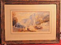 Acuarela Lago Melocotón Pintura Cuadro Firmada Henry