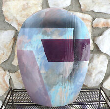 Vintage John Bergen Studio 80s Flower Vase Abstract Geometric Art Pottery 1989