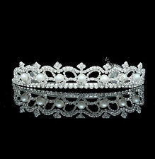 Bridal Rhinestone Crystal Pearl Prom Wedding Crown Tiara 7222