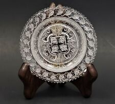 Antique Lee/Rose No. 801 Toddy Plate Grapes Stippled Roses & Scroll Flint Glass