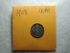 1908 5 Cent Coin Canada Edward VII Five Cents .925 Silver Choice AU Grade