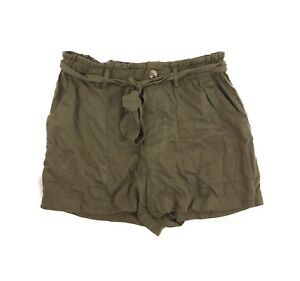 Mimi Chica Juniors Shorts Size M Tie Front Pockets Rayon Olive Green NEW  B12