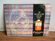 Old vintage Cuticura talcum powder advertising tin sign of 70's, made in India.