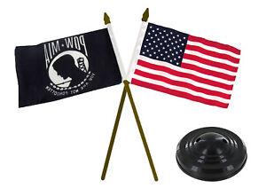 """POWMIA POW MIA & USA American Gold Staff Flags 4""""x6"""" Desk Set Black Base"""