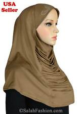 1 piece Ruched-cascade # 7 Golden Tan- Fashion hijab with RHINESTONES from USA