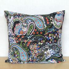"24"" Black Cushion Cover Kantha Stitch Pillow Cover Handmade Sofa Room Decorative"