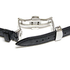 21mm Black Genuine Leather Watch Band Strap With Butterfly Clasp