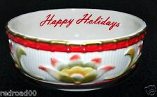 "Fitz and Floyd Woodland Holiday ""Happy Holidays"" Sentiment Bowl NIB"