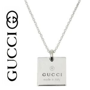 "Gucci ""Trademark"" Sterling Silver 925 Square Charm Necklace"