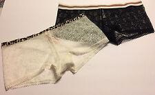 Victorias Secret White/Black Shortie Minishort Boyshort Fishnet Crochet Panties