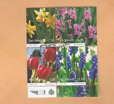 SAN MARINO 2010 FIORI FLOWERS NARCISI MUSCARI TULIP HYACINTHS LOGO +ANNULLO FDC