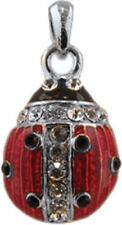 Faberge Egg Pendant / Charm Ladybug with crystals 2.3 cm red #5401-09