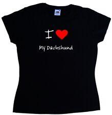 I Love Heart My Dachshund Ladies T-Shirt