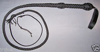 4 foot long 8 Plait BLACK Leather INDIANA JONES Stuntman BULL WHIP Bullwhip