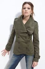$295 William Rast Green Double Breasted Military Jacket Coat NWT XS 0 2 W227