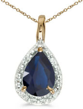 14k Yellow Gold Pear Sapphire Pendant (Chain NOT included)