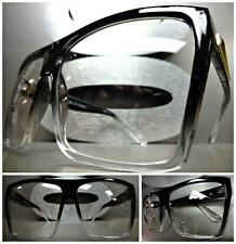 OVERSIZE HUGE VINTAGE RETRO Style Clear Lens SUN GLASSES Black Transparent Frame