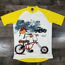 Louis Garneau Yellow & White Cycling Jersey Size L Cars Suck cartoon USA made