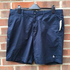 ORIGINAL PENGUIN Chino Shorts Blue Mens Size W36 Zipper Fly Casual