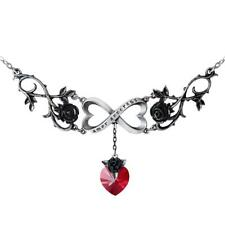 Alchemy Gothic Double Heart Infinite Love Pendant Necklace Pewter Jewelry P868