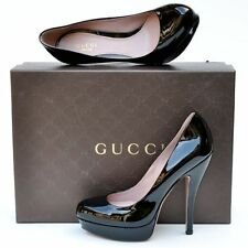 GUCCI New sz 38.5 8.5 Black $650 Authentic Designer Womens Platform Heels Shoes
