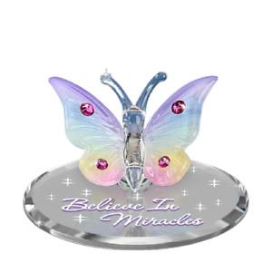 Glass Rainbow Butterfly Figurine, Handmade with Swarovski Crystals, Glass Baron