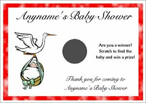 10 Personalised Baby Shower Scratch Cards - Size A6 - Party Game, Favours S3