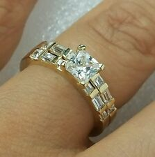 14k Yellow Gold solitare square Princess Cut Engagement Wedding Band Ring Set s6