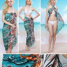 Green Snake Print Floral Pareo Dress Sarong Beach Bikini Swim Cover Scarf Wrap
