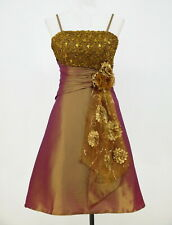 GOLD COCKTAIL / PROM / EVENING DRESS SEQUINS FLOWERS SIZE 12/14 BY CHERLONE
