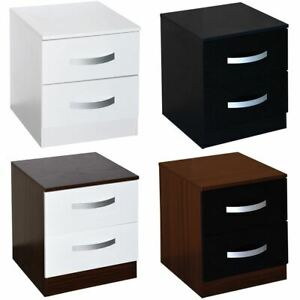 Hulio 2 Drawer High Gloss Bedside Chest Black White Walnut Bedroom Storage