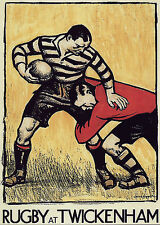 A4 Poster – Vintage Rugby at Twickenham Poster Print (Picture Sport Ball Art)