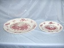 2 Vintage Trays Platters Masons Ironstone China Pink Watteau England Gadroon