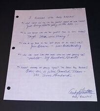 Andy Robusttelli Autographed (5) Questions Sheet New York Giants HOF Jim Brown