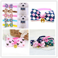 Adjustable Pet Cat Dog Bowties Print With Bell Ribbon Collar Bow tie Puppy Decor