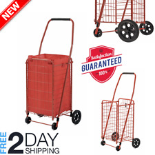 Folding Grocery Shopping Cart Easy Storage Utility Cart 66 lbs Capacity Red