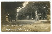 RPPC Trolley in West Main St EAST SPRINGFIELD PA Erie County Real Photo Postcard