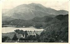 LOCK ACHRAY & BEN VENUE FROM ABOVE TROSSACHS HOTEL SCOTLAND UK POSTCARD c1940s