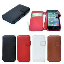 Piel Premium para Apple iPhone SE Lado Abierto Cartera Funda Protectora