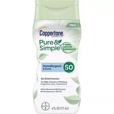 New Coppertone Pure & Simple Sunscreen Lotion SPF 50 6 Fl. Oz.