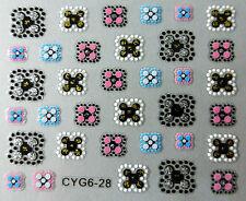 Nail art stickers bijoux d'ongles autocollants: cubes dés multicolores à pois