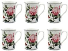 Shabby Chic Pink Rose Set 6 China Mugs Coffee Tea Mug The Leonardo Collection