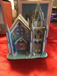 """Cottontail Lane Springtime Cottages! Lighted Porcelain """"Cathedral"""" Church!"""