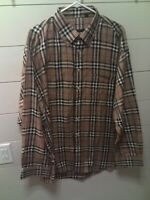 *BURBARELY* Mens Long Sleeve Shirt XXL Collared Plaid Like New Condition!