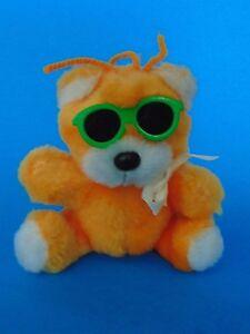 Orange Bear Cuddle Wit 1985 Sunglasses Cute Vintage Yarn Hair