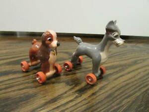 Rare Vintage Disney Lady and The Tramp Fun on Wheels Marx Rolling Figures EUC