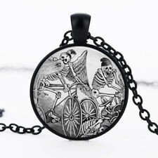 Skeleton Bicycle Jose Posada dome Black Cabochon Glass Necklace chain Pendant