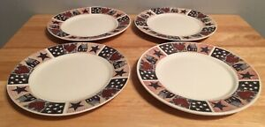 Dessert Plates Set Of 4 American Quilt Memorial Day Veterans 4th Of July 6 1/2""
